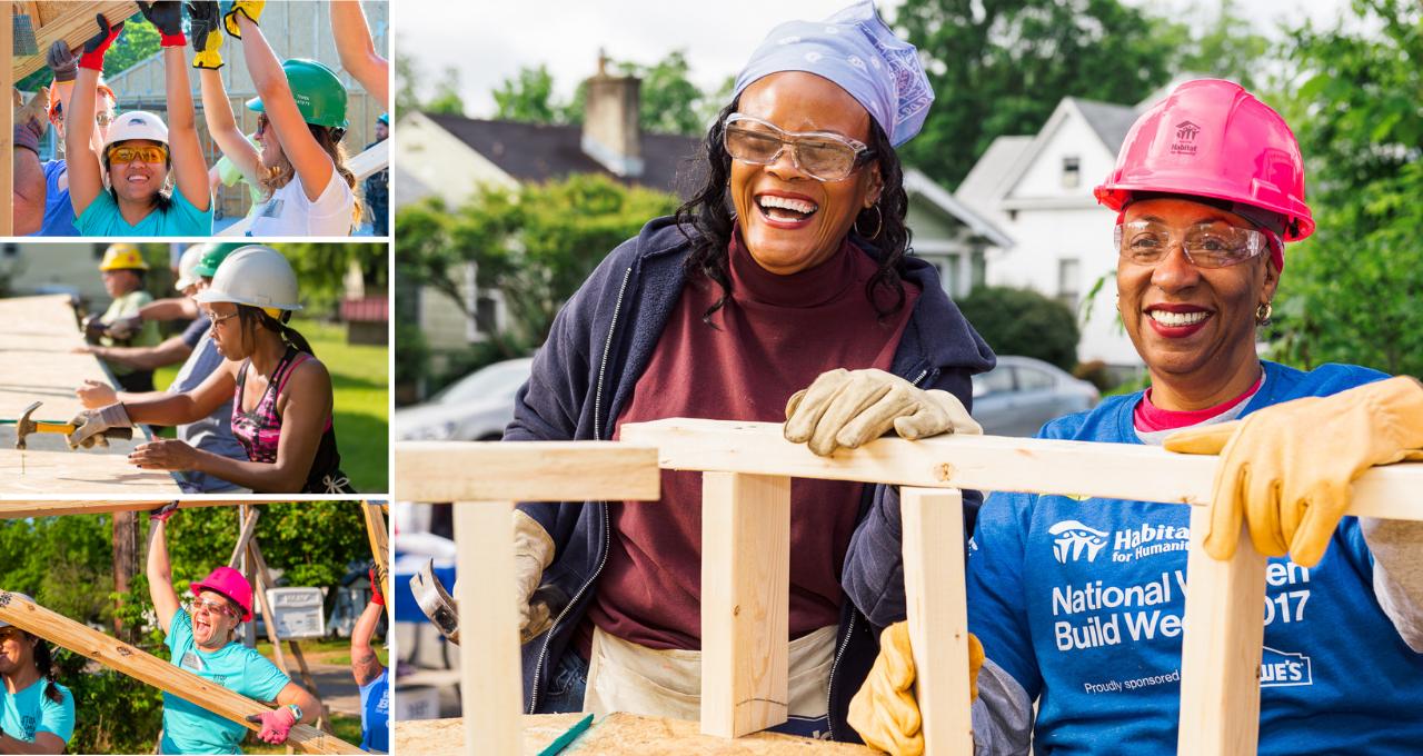 Women Build Header - collage of Women Build Volunteers